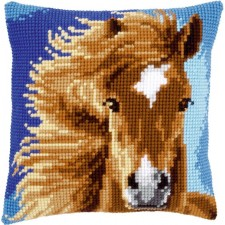 Cross stitch cushion kit Brown horse