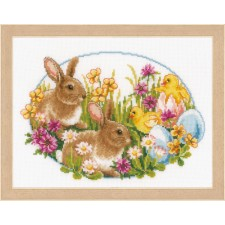 Counted cross stitch kit Rabbits and chicks