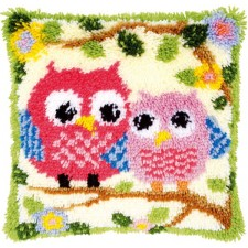 Latch hook cushion kit Owls on a branch