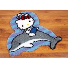 (OP=OP) Latch hook shaped rug kit Hello Kitty on a dolphin