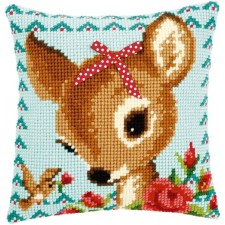 Cross stitch cushion kit Bambi with a bow