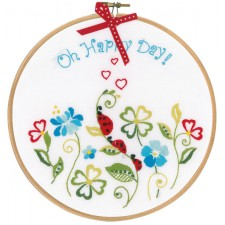 Embroidery kit with ring Oh happy day