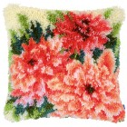 Latch hook cushion kit Pink dahlias