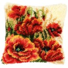 Latch hook cushion kit Poppies