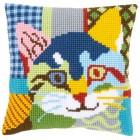 Cross stitch cushion kit Modern cat
