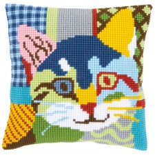 Cross stitch cushion kit Modern cat