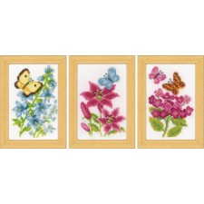 Miniature kit Flowers and butterflies set of 3