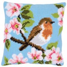 Cross stitch cushion kit Robin & blossoms