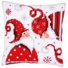 Cross stitch cushion kit Christmas gnomes I
