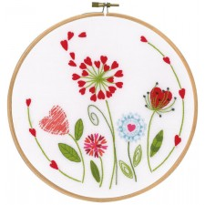 Embroidery kit with ring Flowers