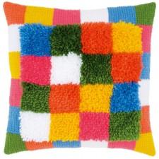 Needlework cushion kit Bright squares