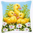 Cross stitch cushion kit Ducklings with daisies I