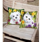 Cross stitch cushion kit Westie in daffodils