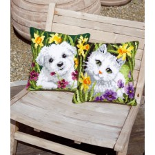 Cross stitch cushion kit White cat in daffodils