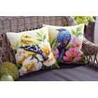 Cross stitch cushion kit Bird on rose bush