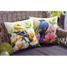 Cross stitch cushion kit Bird on rose bush