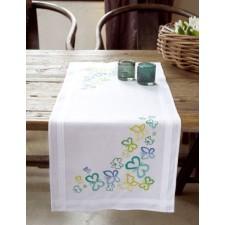 Table runner kit Butterflies in green tones