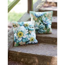 Cross stitch cushion kit Japanese anemones II