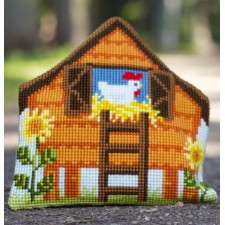 (OP=OP) Cross stitch shaped cushion kit The henhouse
